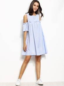 Kleid Cut-Outs am Schulter mit vertikalen Streifen - blau