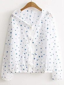 Star Print Zipper Front Hooded Coat