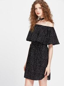 Flounce Layered Neckline Textured Dot Bow Waist Dress