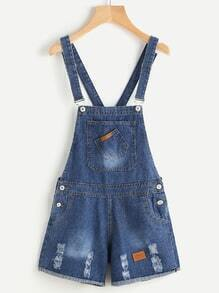 Ripped Rolled Denim Overall Shorts