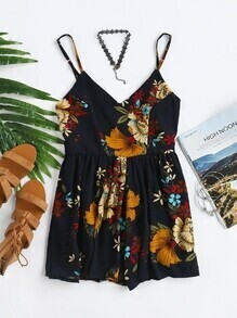 Floral Criss Cross Back Romper