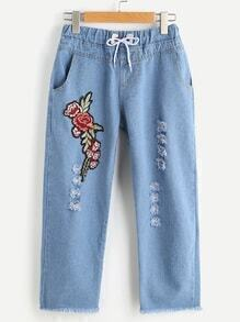 Ripped Applique Beaded Drawstring Raw Hem Denim Pants