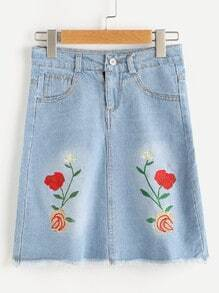 Embroidery Frayed Hem Denim Skirt