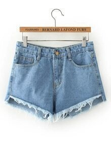 Shorts en denim de borde crudo