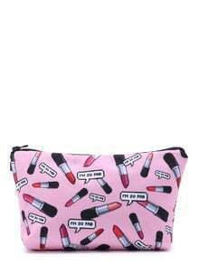 Lipstick Print Zipper Makeup Bag