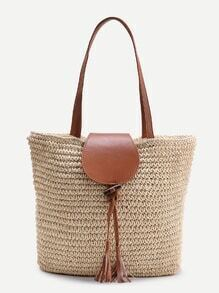 Tassel Detail Straw Tote Bag