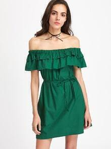 Flounce Layered Neckline Shirred Dress With Belt