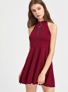 Ring Zip Pull Front A Line Dress