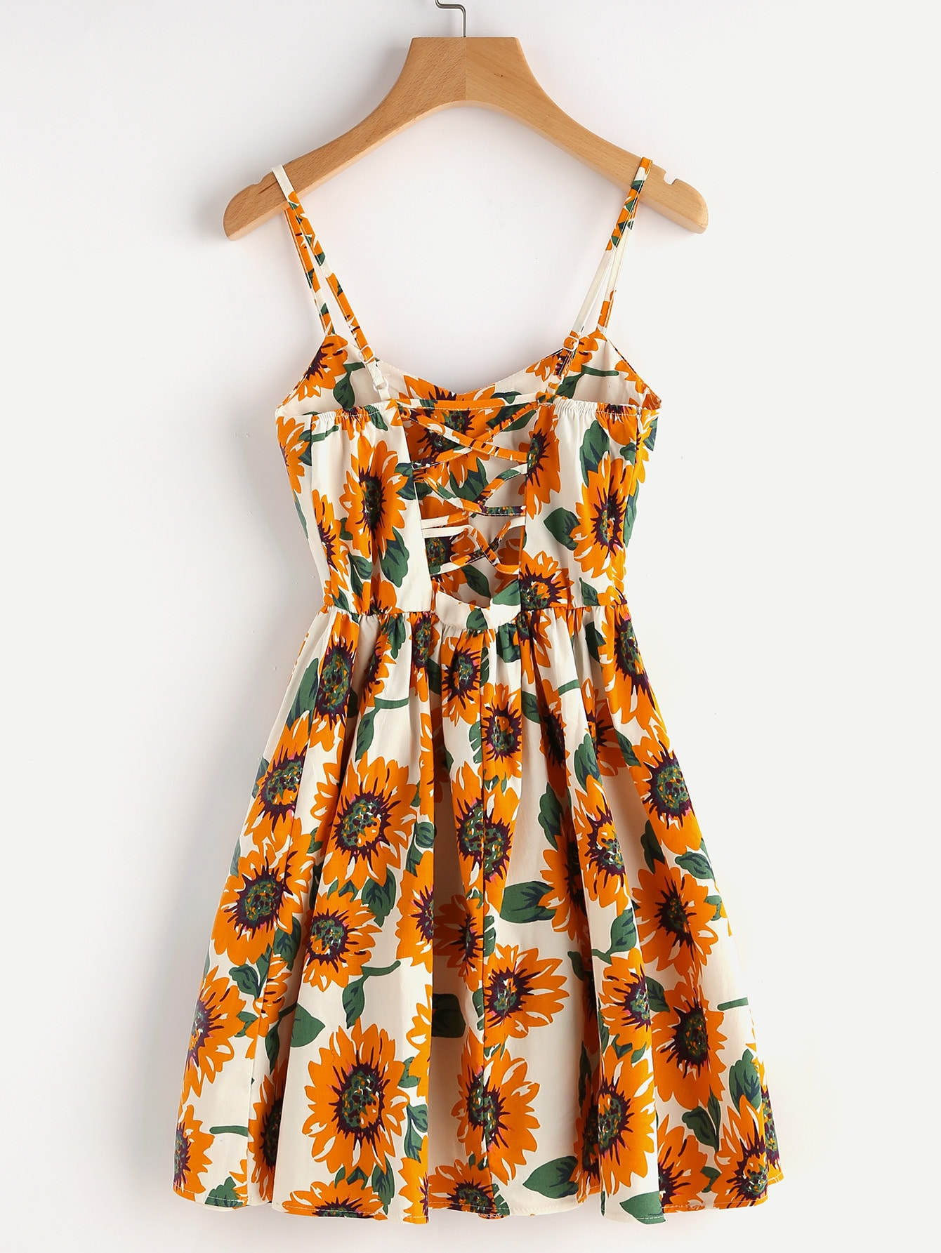 Sunflower Print Random Lace Up Back A Line Cami Dress Romwe