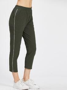 Stripe Side Elastic Waist Pants