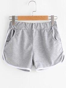 Contrast Trim Elastic Waist Shorts