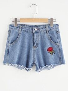 Rose Embroidered Fray Hem Chambray Shorts