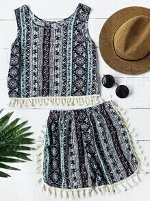 Aztec Print Fringe Hem Tank Top With Shorts