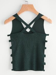 Ladder Cut Out Side Criss Cross Back Tank Top