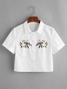 kurze Bluse mit Blumenstickerei - Weiss