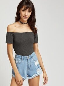 Heathered Off Shoulder Bodysuit