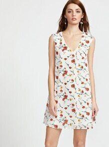 Vestido con estampado de flor espalda con abertura - blanco