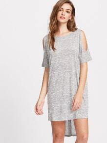 Space Dye Open Shoulder Crossover Back Dip Hem Tee Dress