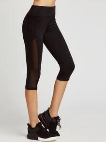 Leggins cortos con cinturilla ancha de malla - negro