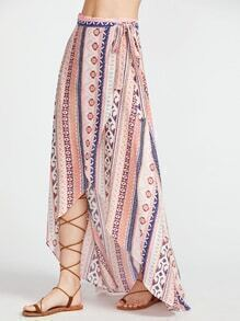 Tribal Print High Low Wrap Skirt