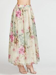Flower Print Elastic Waist Maxi Skirt