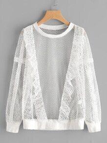 Mesh Front Ruffle Detail Fishnet Crochet Sweatshirt