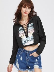Graphic Print Crop Lace Up Plunging Hoodie