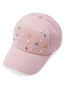 Gorra béisbol con perla de imitación