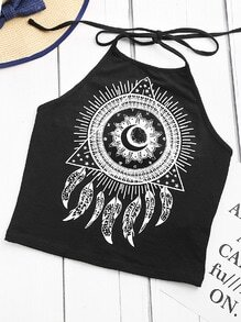 Top de cuello halter con estampado de tatuaje - negro
