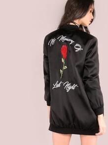Bomber Jacke mit Rose Stickereien Hinten-schwarz