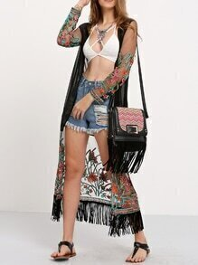 Transparent Embroidered Fringe Long Kimono