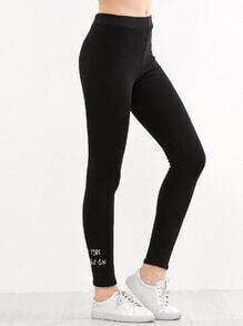 Black Letter Embroidered Elastic Waist Leggings