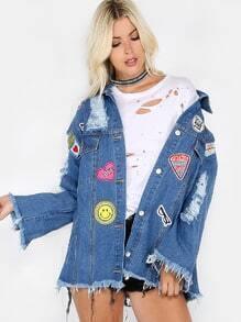 übergröße Jacke im Retro Stil - blau