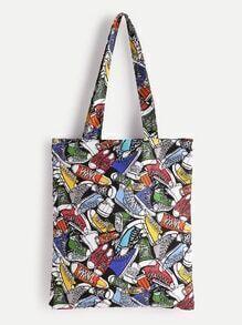 Shoes Print Linen Tote Bag