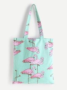 Flamingo Print Linen Tote Bag