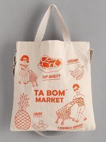 Print Linen Shoulder Bag With Handle