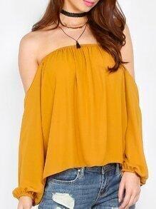 Langarm Bluse schulterfrei in gelb