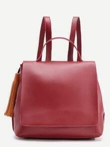 Tassel Detail Flap PU Backpack