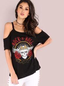 Kaltes Schulter-Rock-n-Rollenschädel-Grafik-T-Shirt SCHWARZES