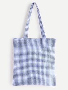 Gingham Linen Tote Bag