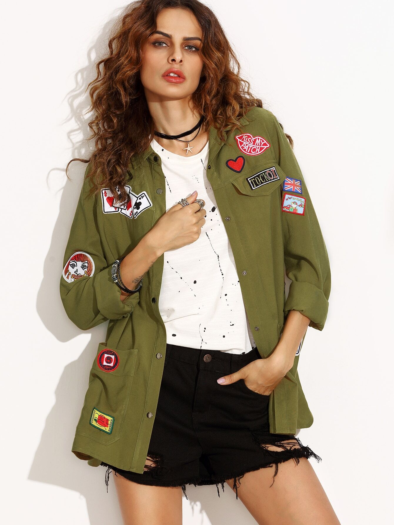 f2136491bf Olive Green Military Shirt Jacket With Embroidered Patch Detail | ROMWE
