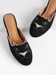 Cat Embroidery Flat Slippers