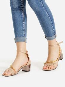 Chain Design Block Heeled Sandals