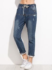 Dark Blue Drawstring Cuffed Jeans