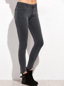 Schnittkante dünne Jeans-dunkel grau