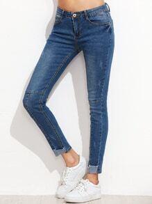 Skinny Jeans Contrast Saum -blau