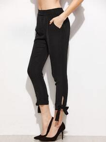 kurze Skinny Hosen mit Schleifen Saum -schwarz