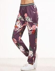Hosen mit Blumen Druck  Streifen Saum-purpur