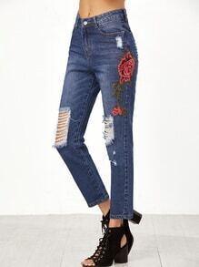 Applikante bekümmerte Jeans mit Rose Stickereien-blau