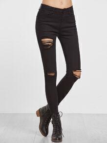 Skinny Jeans mit Zerrissen Design-schwarz